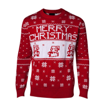 Christmas Mario Png.Official Unisex Nintendo Super Mario Red Knitted Christmas Jumper Small