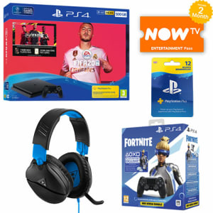 PS4 500GB FIFA 20 Bundle + Turtle Beach Recon 70P + Fortnite Neo Versa Dualshock 4 Bundle + Playstation Plus 12 Months + NOW TV for PlayStation 4