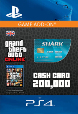 'Gta Online Tiger Shark Cash Card - $200,000 (ps4) For Playstation 4