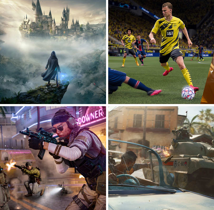 Screenshots of Far Cry, Watch Dogs, FIFA and Call of Duty