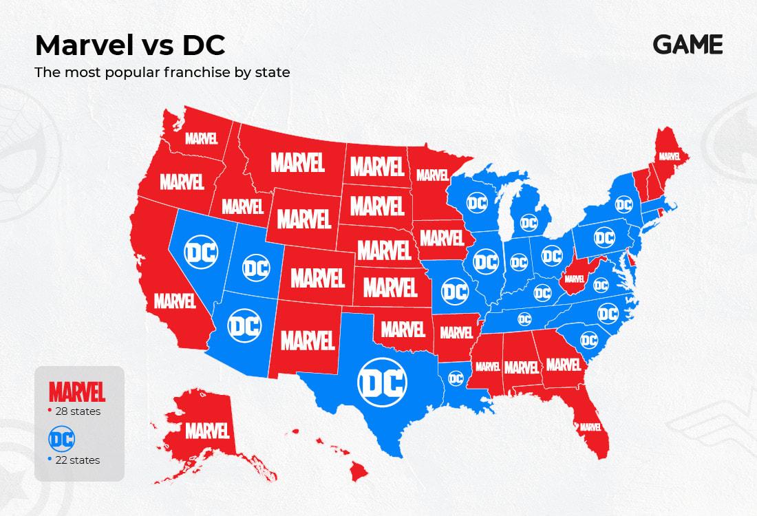Marvel vs DC Most Popular Franchise by US states