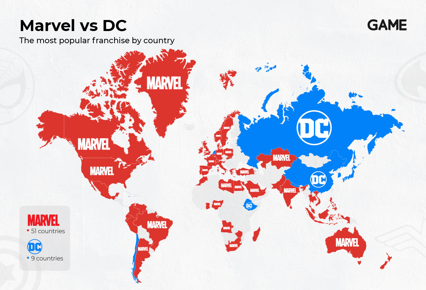 Marvel vs DC Most Popular Franchise by Country