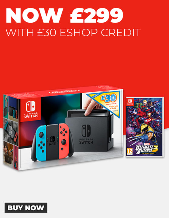 Nintendo Switch Neon with £30 eShop Credit and Marvel Ultimate Alliance 3
