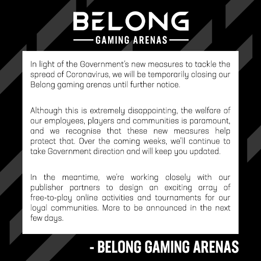 Belong arenas closed until further notice